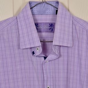English Laundry M Plaid Purple Dress Shirt